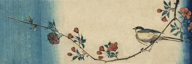 Bird on branch japanese art